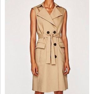 NWT Zara Camel Sleeveless Trench Coat Dress Vest